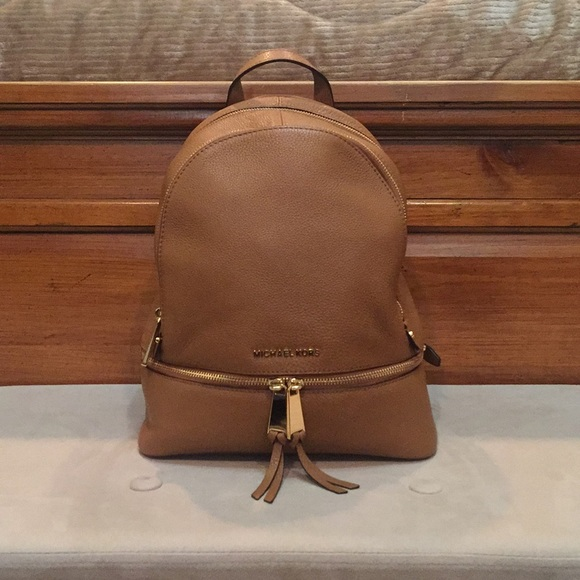a5a06f260fe28 Michael Kors Rhea Zip Leather Backpack in Acorn